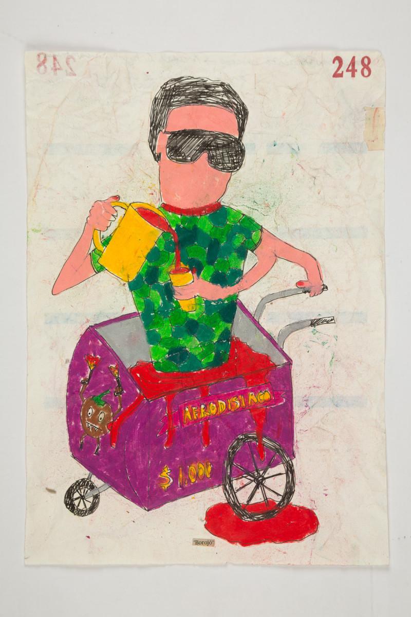 Camilo Restrepo. <em>Borojò</em>, 2021. Water-soluble wax pastel, ink, tape and saliva on paper 11 3/4 x 8 1/4 inches (29.8 x 21 cm)