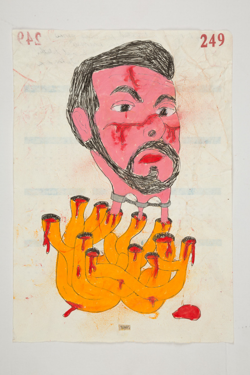 Camilo Restrepo. <em>Liso</em>, 2021. Water-soluble wax pastel, ink, tape and saliva on paper 11 3/4 x 8 1/4 inches (29.8 x 21 cm)