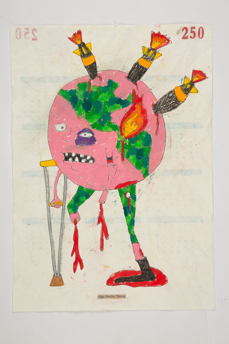 Camilo Restrepo. <em>Mocho Tierra</em>, 2021. Water-soluble wax pastel, ink, tape and saliva on paper 11 3/4 x 8 1/4 inches (29.8 x 21 cm)