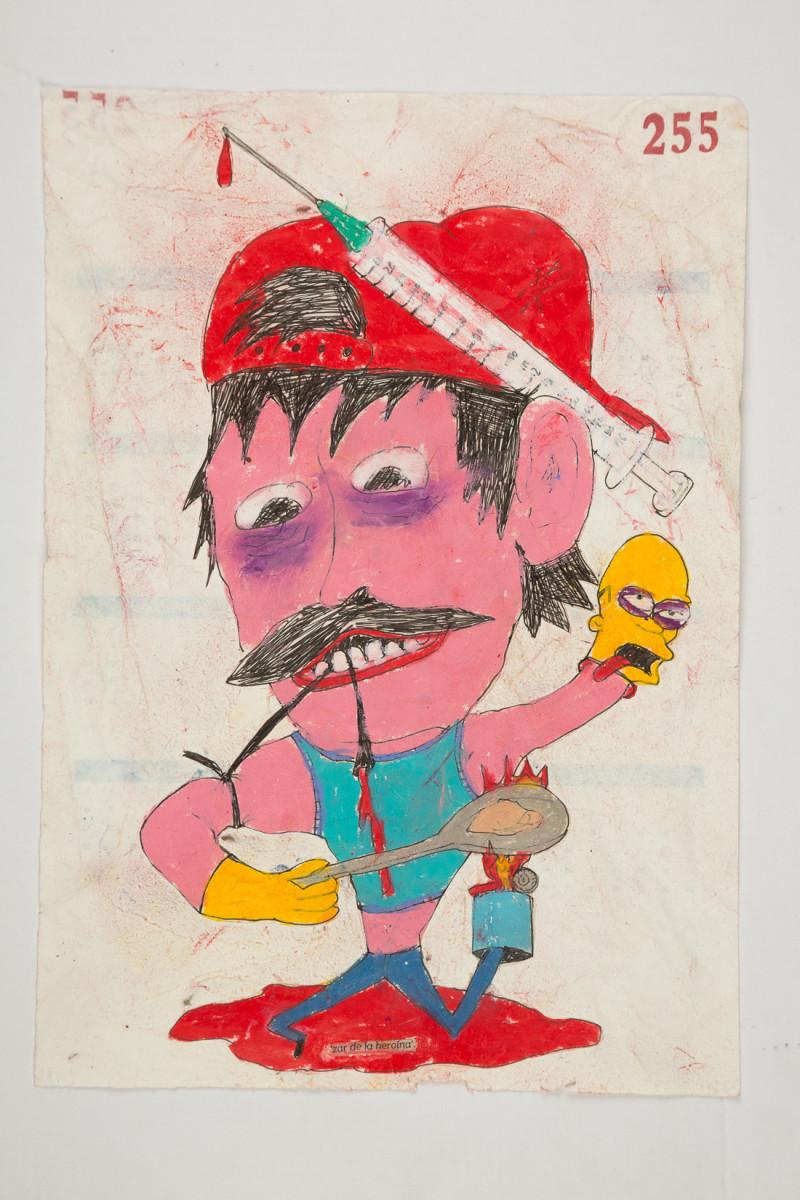 Camilo Restrepo. <em>Zar de la heroìna</em>, 2021. Water-soluble wax pastel, ink, tape and saliva on paper 11 3/4 x 8 1/4 inches (29.8 x 21 cm)