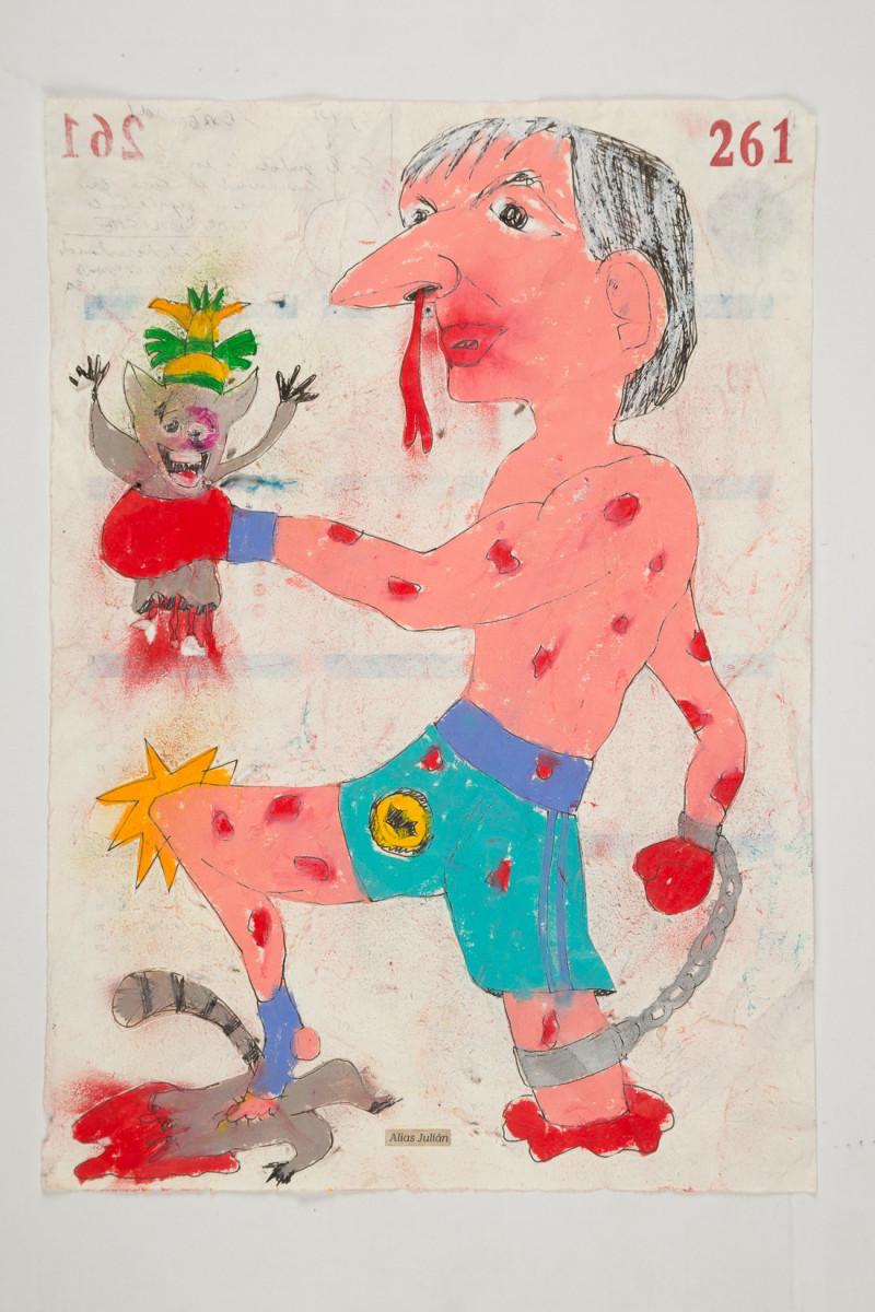 Camilo Restrepo. <em>Juliàn</em>, 2021. Water-soluble wax pastel, ink, tape and saliva on paper 11 3/4 x 8 1/4 inches (29.8 x 21 cm)