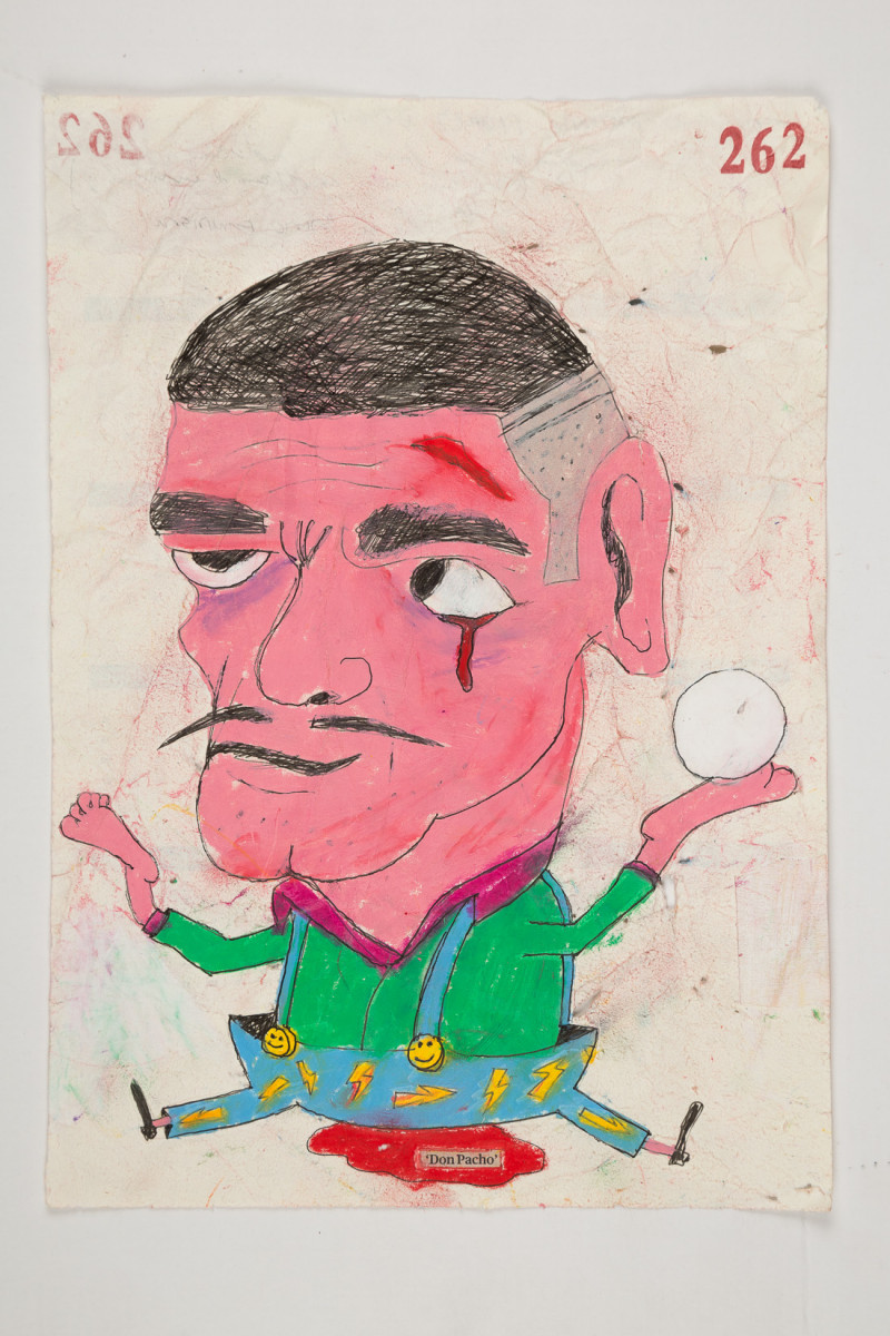 Camilo Restrepo. <em>Don Pacho</em>, 2021. Water-soluble wax pastel, ink, tape and saliva on paper 11 3/4 x 8 1/4 inches (29.8 x 21 cm)