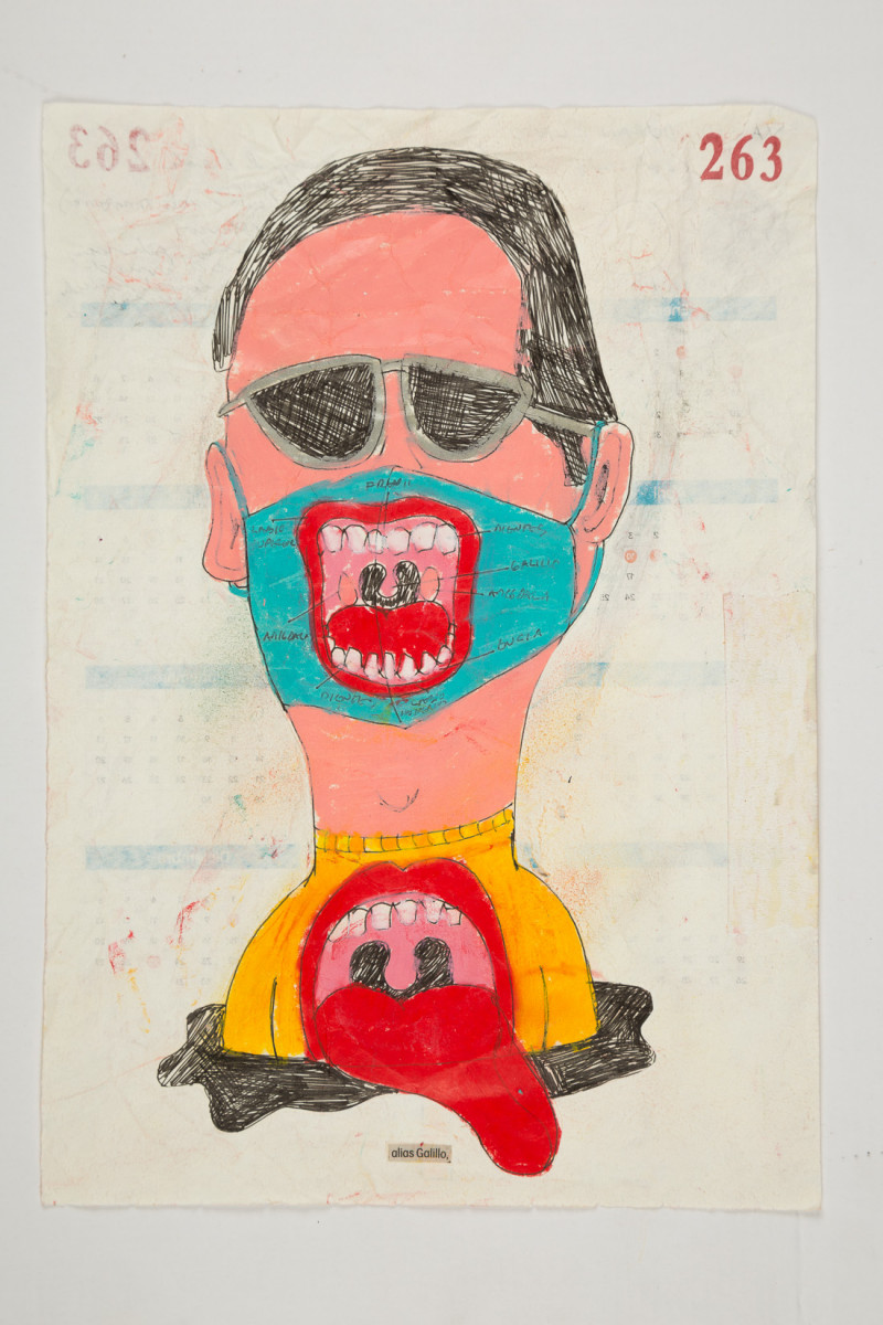 Camilo Restrepo. <em>Galillo</em>, 2021. Water-soluble wax pastel, ink, tape and saliva on paper 11 3/4 x 8 1/4 inches (29.8 x 21 cm)