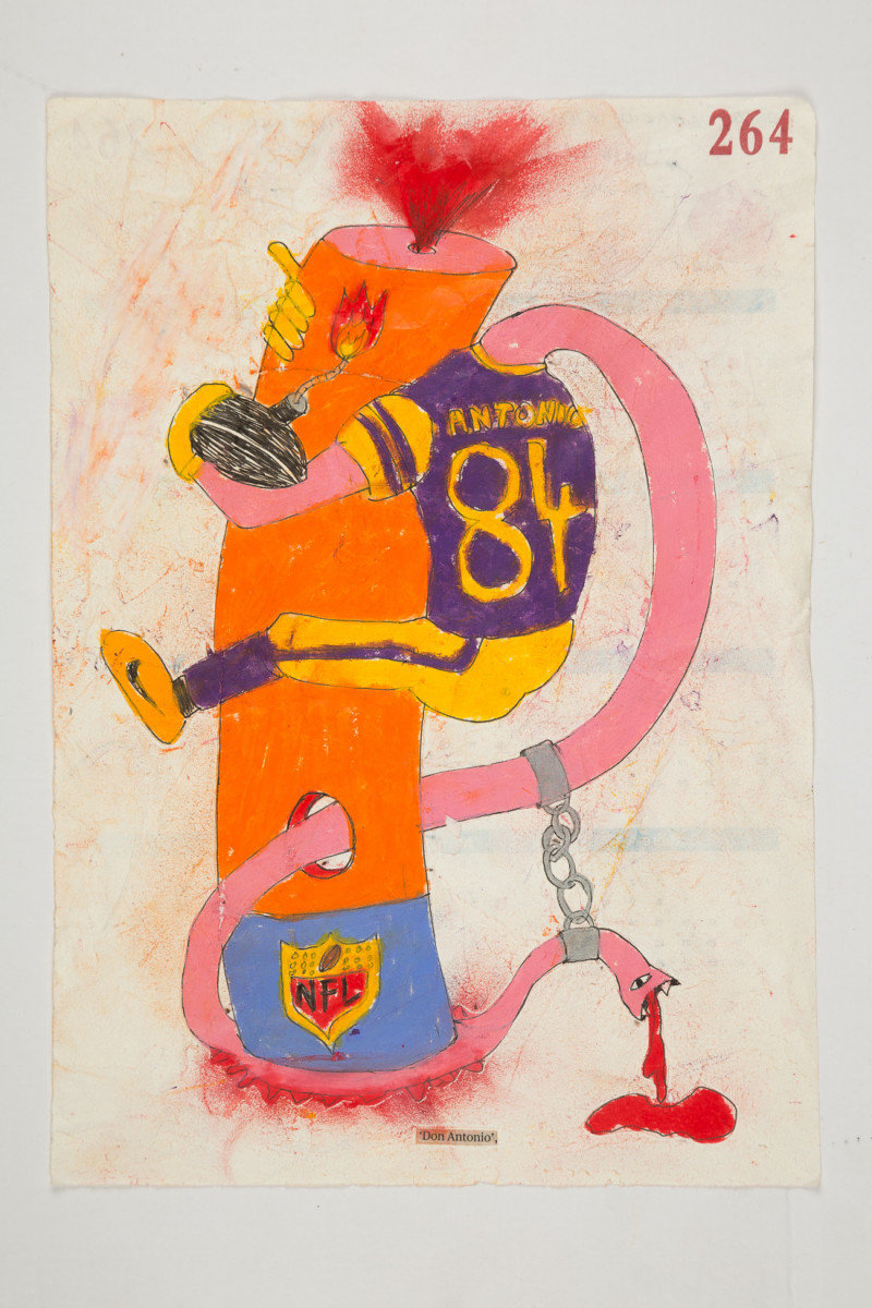 Camilo Restrepo. <em>Don Antonio</em>, 2021. Water-soluble wax pastel, ink, tape and saliva on paper 11 3/4 x 8 1/4 inches (29.8 x 21 cm)