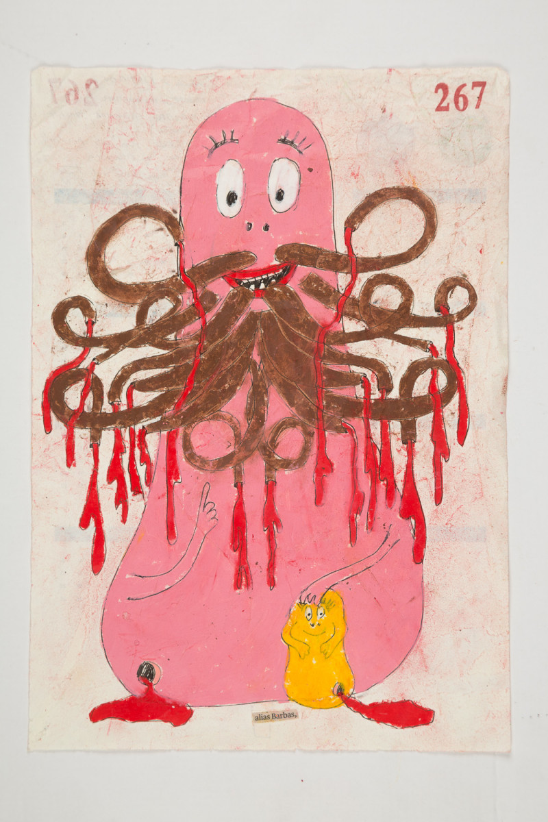 Camilo Restrepo. <em>Barbas</em>, 2021. Water-soluble wax pastel, ink, tape and saliva on paper 11 3/4 x 8 1/4 inches (29.8 x 21 cm)