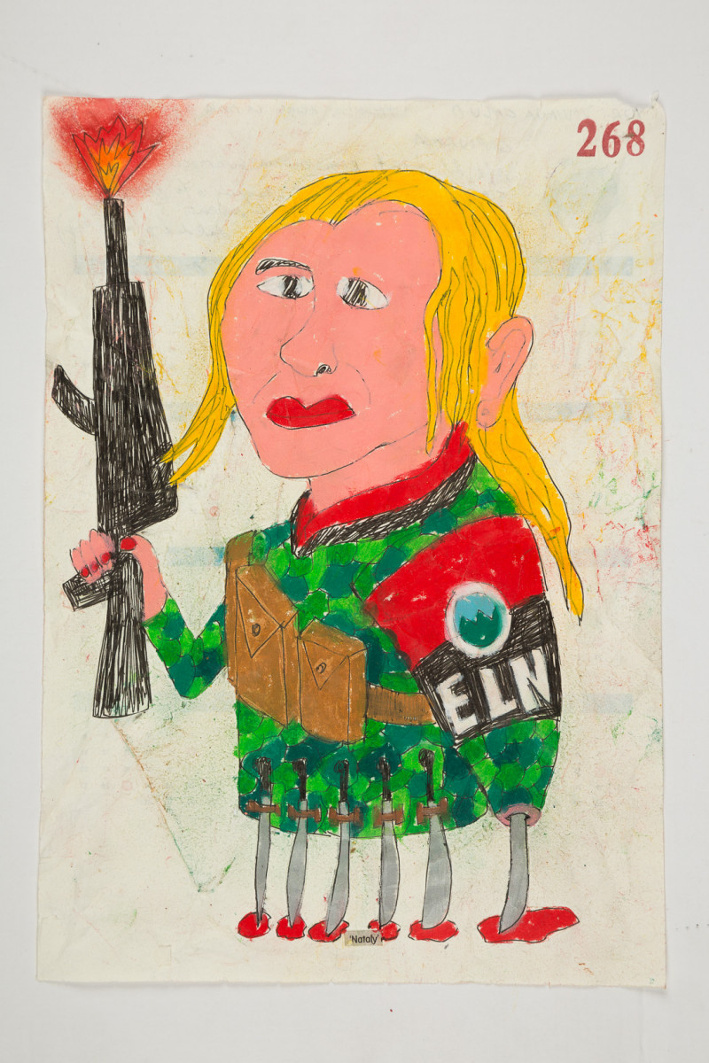 Camilo Restrepo. <em>Nataly</em>, 2021. Water-soluble wax pastel, ink, tape and saliva on paper 11 3/4 x 8 1/4 inches (29.8 x 21 cm)