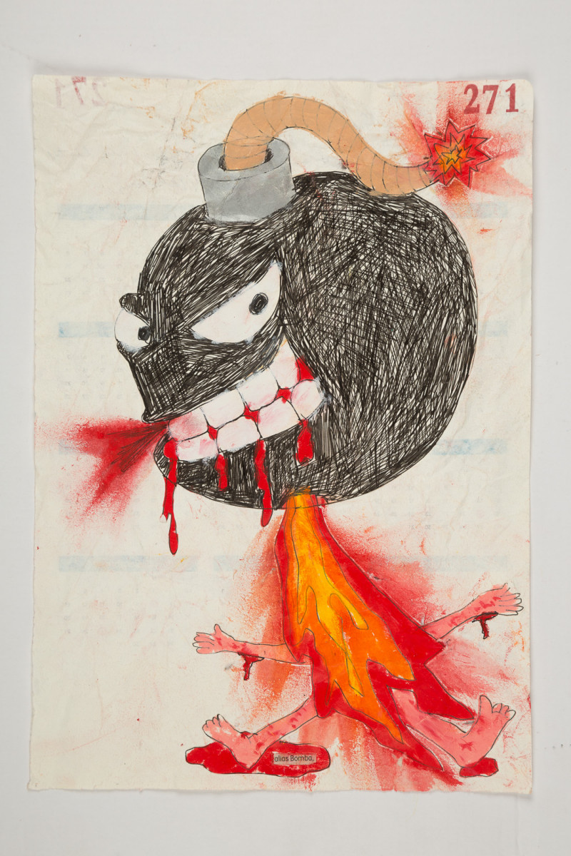 Camilo Restrepo. <em>Bomba</em>, 2021. Water-soluble wax pastel, ink, tape and saliva on paper 11 3/4 x 8 1/4 inches (29.8 x 21 cm)
