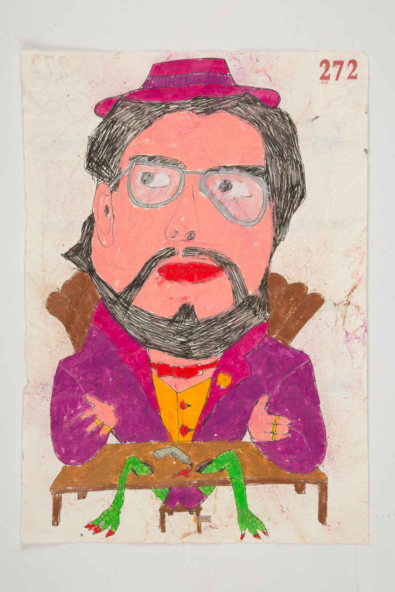 Camilo Restrepo. <em>Papi</em>, 2021. Water-soluble wax pastel, ink, tape and saliva on paper 11 3/4 x 8 1/4 inches (29.8 x 21 cm)