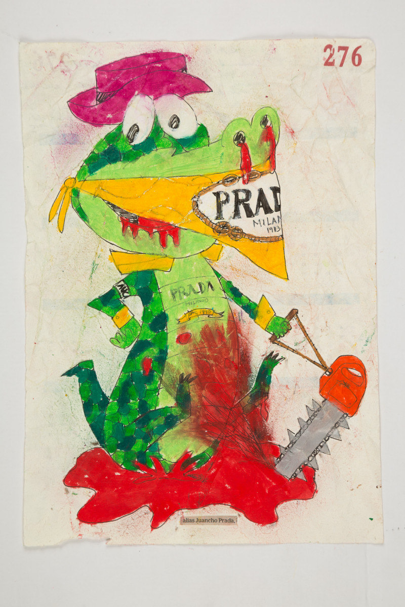 Camilo Restrepo. <em>Juancho Prada</em>, 2021. Water-soluble wax pastel, ink, tape and saliva on paper 11 3/4 x 8 1/4 inches (29.8 x 21 cm)