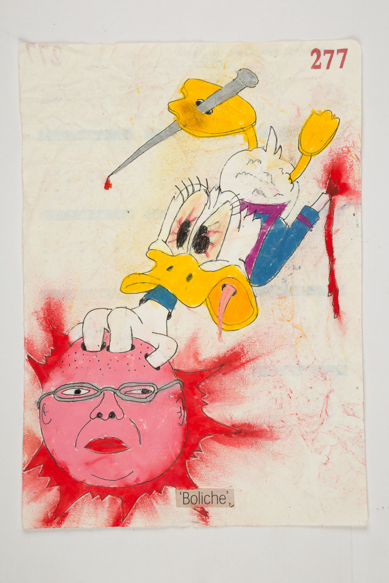 Camilo Restrepo. <em>Boliche</em>, 2021. Water-soluble wax pastel, ink, tape and saliva on paper 11 3/4 x 8 1/4 inches (29.8 x 21 cm)