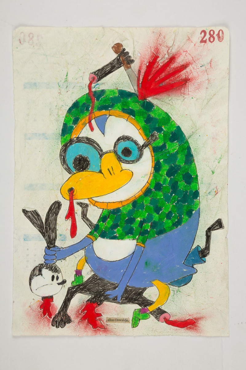 Camilo Restrepo. <em>Oswaldo</em>, 2021. Water-soluble wax pastel, ink, tape and saliva on paper 11 3/4 x 8 1/4 inches (29.8 x 21 cm)
