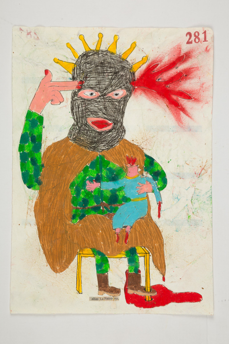 Camilo Restrepo. <em>Patrona</em>, 2021. Water-soluble wax pastel, ink, tape and saliva on paper 11 3/4 x 8 1/4 inches (29.8 x 21 cm)