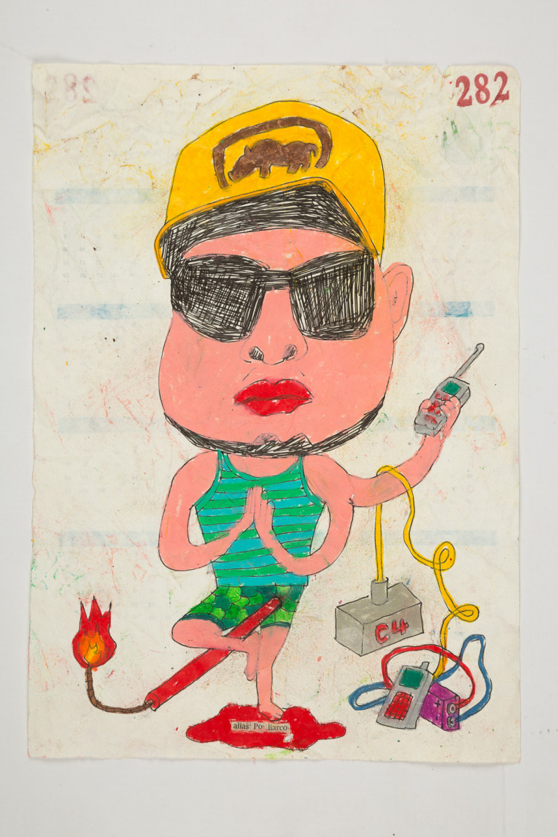 Camilo Restrepo. <em>Poliarco</em>, 2021. Water-soluble wax pastel, ink, tape and saliva on paper 11 3/4 x 8 1/4 inches (29.8 x 21 cm)
