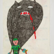 Camilo Restrepo. <em>Cuco</em>, 2021. Water-soluble wax pastel, ink, tape and saliva on paper 11 3/4 x 8 1/4 inches (29.8 x 21 cm) thumbnail