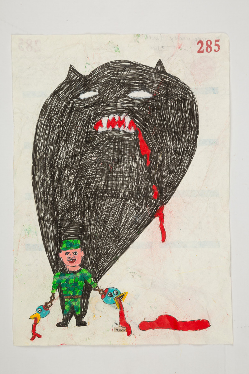 Camilo Restrepo. <em>Cuco</em>, 2021. Water-soluble wax pastel, ink, tape and saliva on paper 11 3/4 x 8 1/4 inches (29.8 x 21 cm)