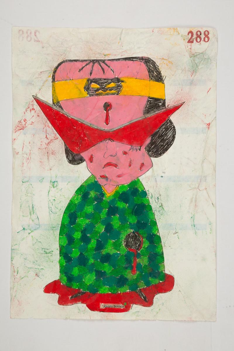 Camilo Restrepo. <em>Alvaro Boyaco</em>, 2021. Water-soluble wax pastel, ink, tape and saliva on paper 11 3/4 x 8 1/4 inches (29.8 x 21 cm)