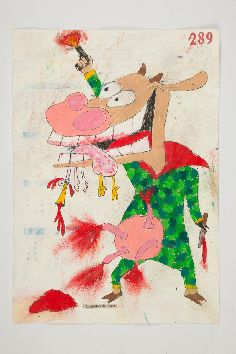Camilo Restrepo. <em>Alirio Mata de Vaca</em>, 2021. Water-soluble wax pastel, ink, tape and saliva on paper 11 3/4 x 8 1/4 inches (29.8 x 21 cm)