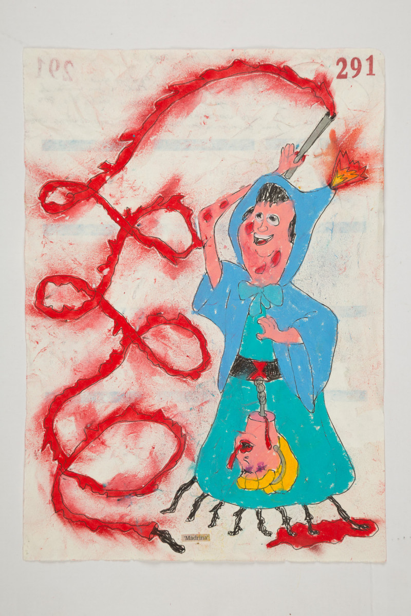 Camilo Restrepo. <em>Madrina</em>, 2021. Water-soluble wax pastel, ink, tape and saliva on paper 11 3/4 x 8 1/4 inches (29.8 x 21 cm)