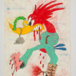 Camilo Restrepo. <em>Loco</em>, 2021. Water-soluble wax pastel, ink, tape and saliva on paper 11 3/4 x 8 1/4 inches (29.8 x 21 cm) thumbnail