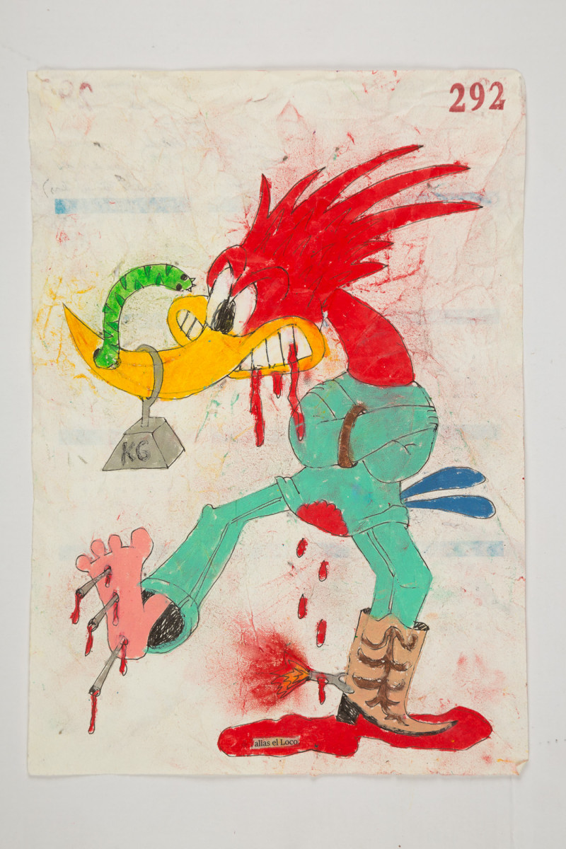 Camilo Restrepo. <em>Loco</em>, 2021. Water-soluble wax pastel, ink, tape and saliva on paper 11 3/4 x 8 1/4 inches (29.8 x 21 cm)