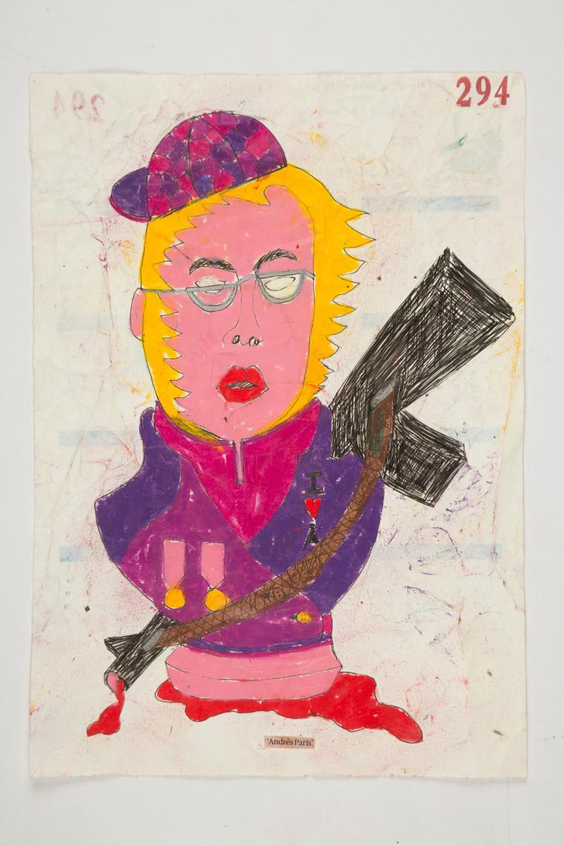 Camilo Restrepo. <em>Fabiàn Famirez</em>, 2021. Water-soluble wax pastel, ink, tape and saliva on paper 11 3/4 x 8 1/4 inches (29.8 x 21 cm)