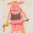 Camilo Restrepo. <em>Porcino</em>, 2021. Water-soluble wax pastel, ink, tape and saliva on paper 11 3/4 x 8 1/4 inches (29.8 x 21 cm) thumbnail
