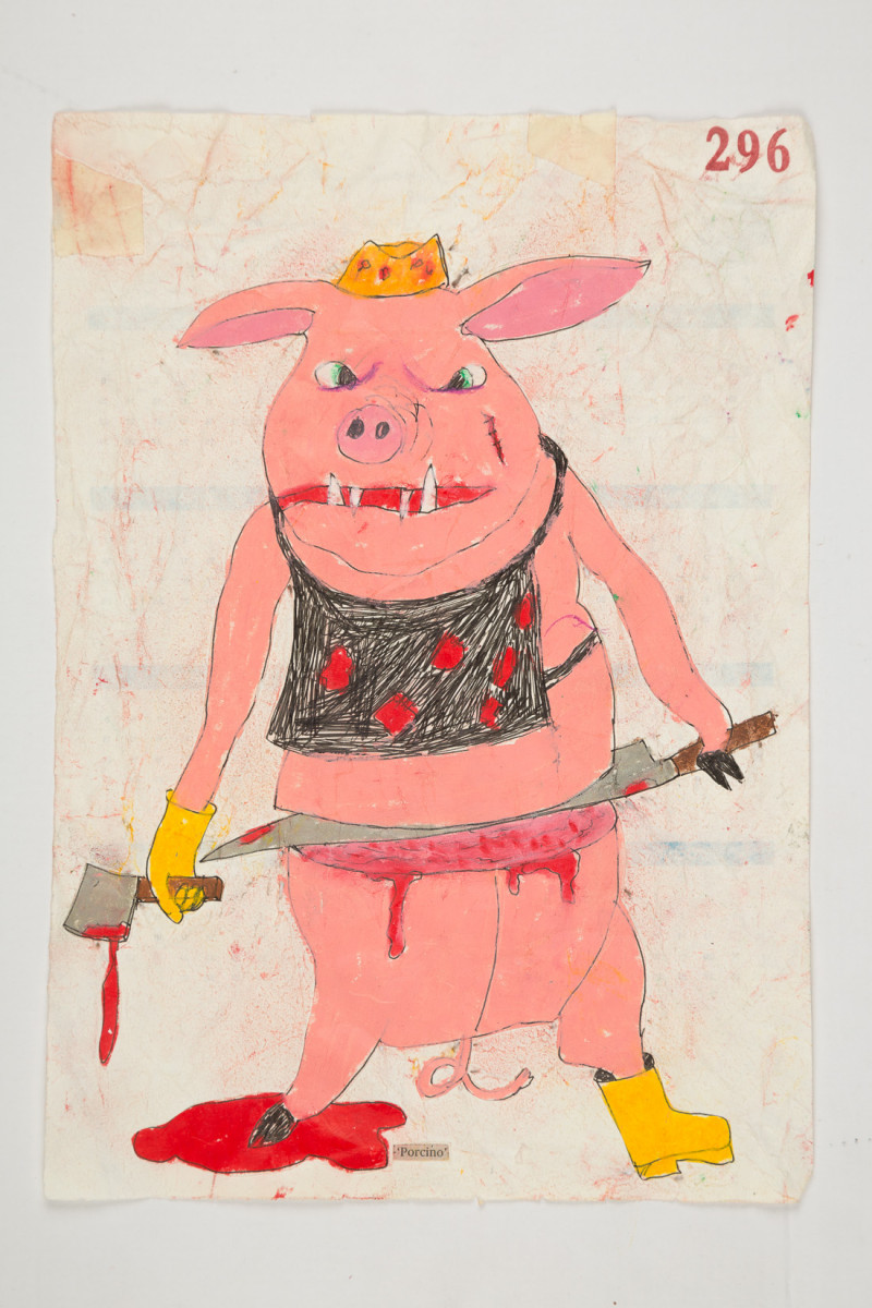 Camilo Restrepo. <em>Porcino</em>, 2021. Water-soluble wax pastel, ink, tape and saliva on paper 11 3/4 x 8 1/4 inches (29.8 x 21 cm)