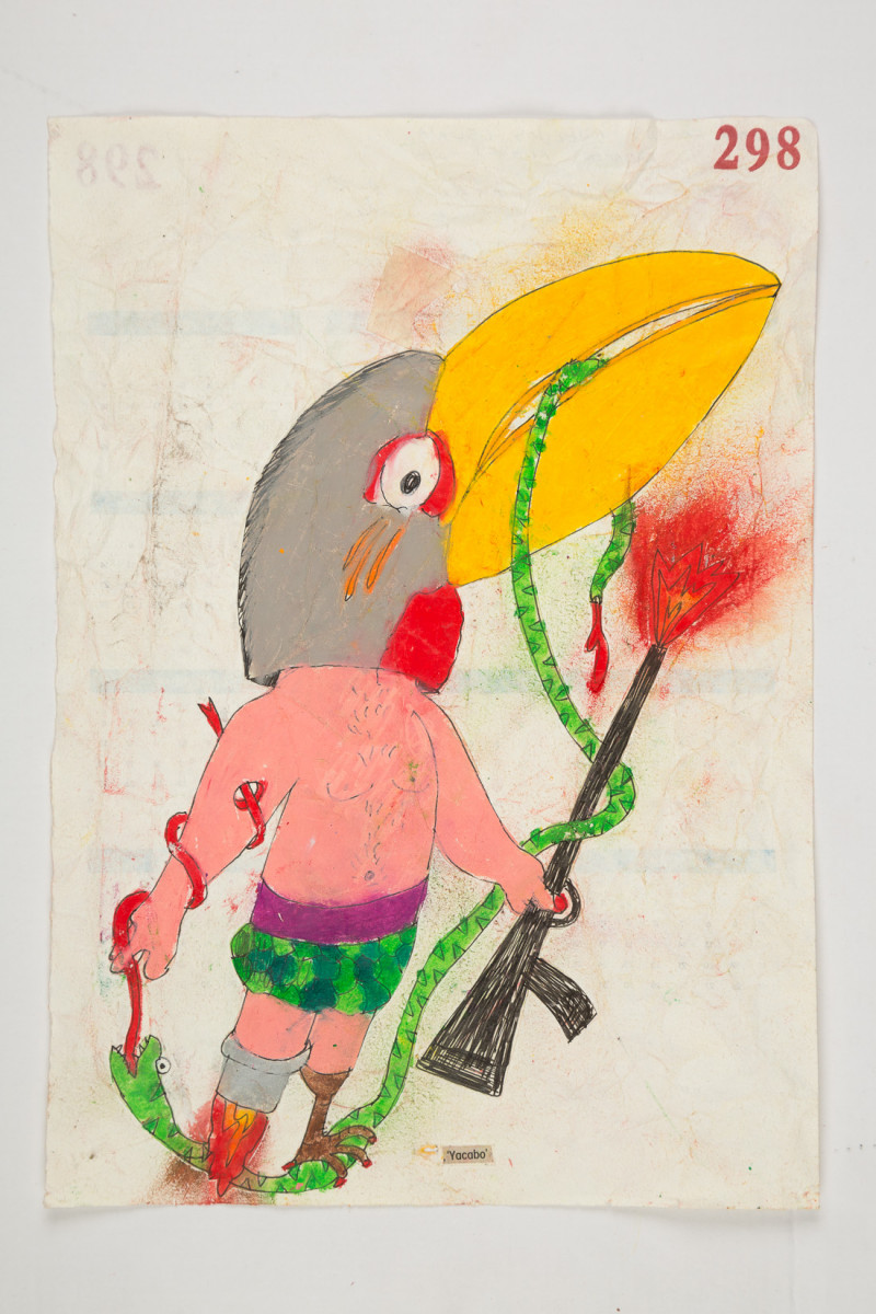 Camilo Restrepo. <em>Yacabo</em>, 2021. Water-soluble wax pastel, ink, tape and saliva on paper 11 3/4 x 8 1/4 inches (29.8 x 21 cm)