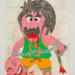 Camilo Restrepo. <em>Chicho</em>, 2021. Water-soluble wax pastel, ink, tape and saliva on paper 11 3/4 x 8 1/4 inches (29.8 x 21 cm) thumbnail