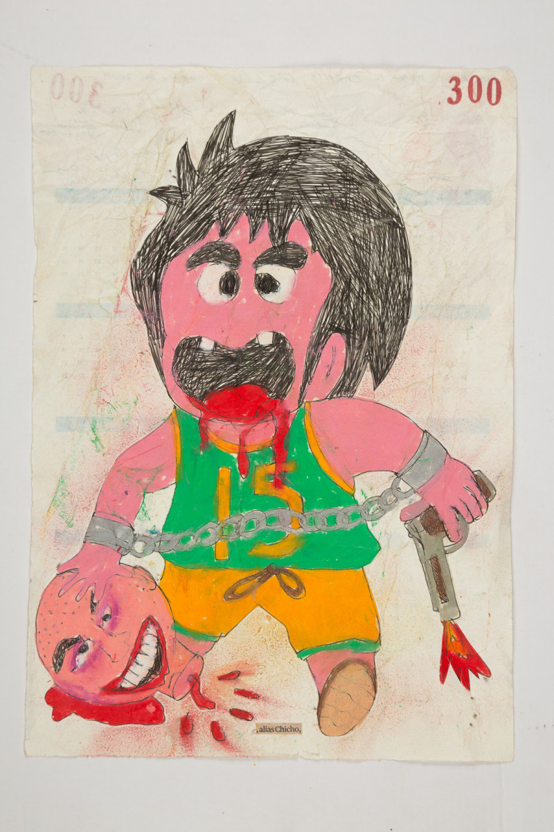 Camilo Restrepo. <em>Chicho</em>, 2021. Water-soluble wax pastel, ink, tape and saliva on paper 11 3/4 x 8 1/4 inches (29.8 x 21 cm)