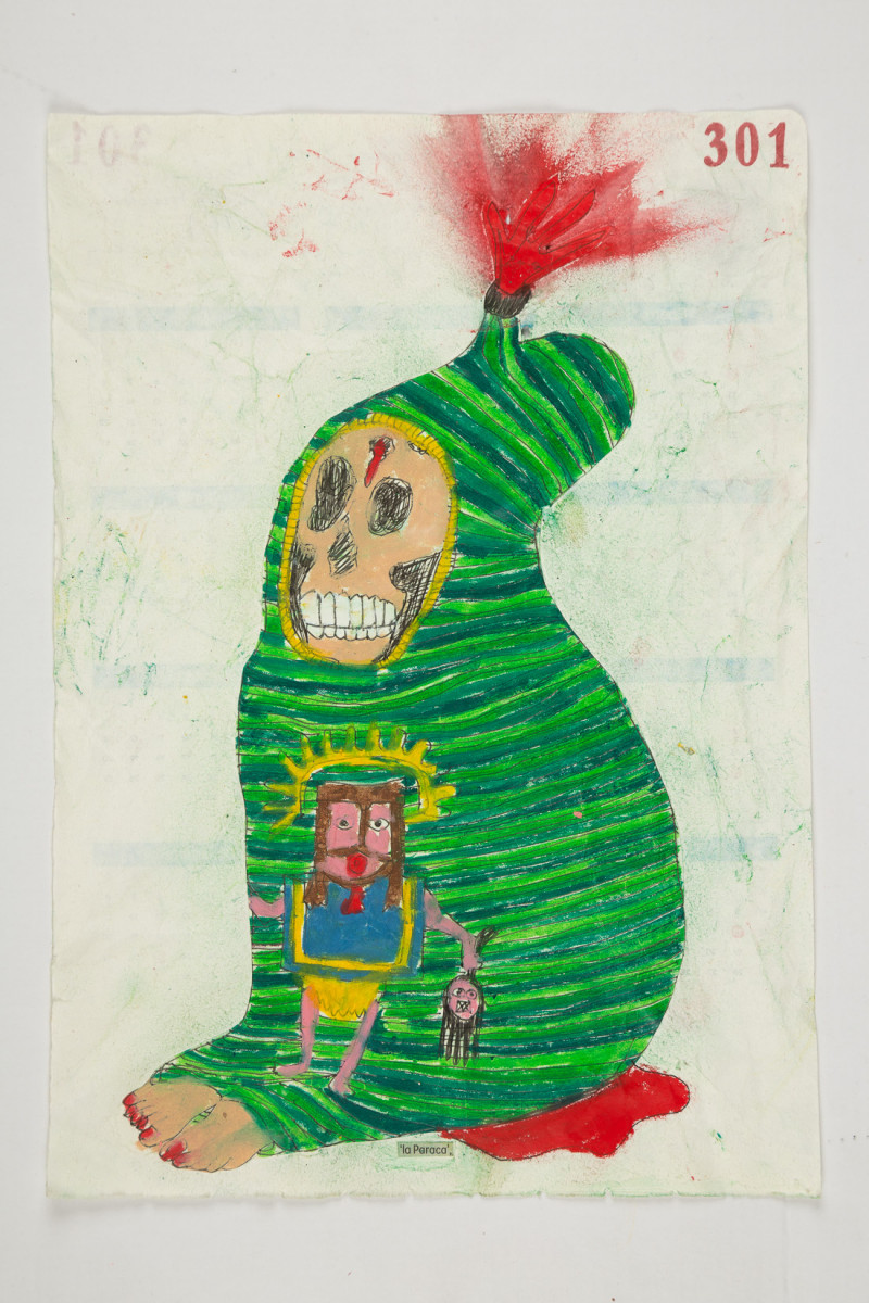 Camilo Restrepo. <em>Paraca</em>, 2021. Water-soluble wax pastel, ink, tape and saliva on paper 11 3/4 x 8 1/4 inches (29.8 x 21 cm)