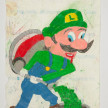 Camilo Restrepo. <em>Luigi</em>, 2021. Water-soluble wax pastel, ink, tape and saliva on paper 11 3/4 x 8 1/4 inches (29.8 x 21 cm) thumbnail