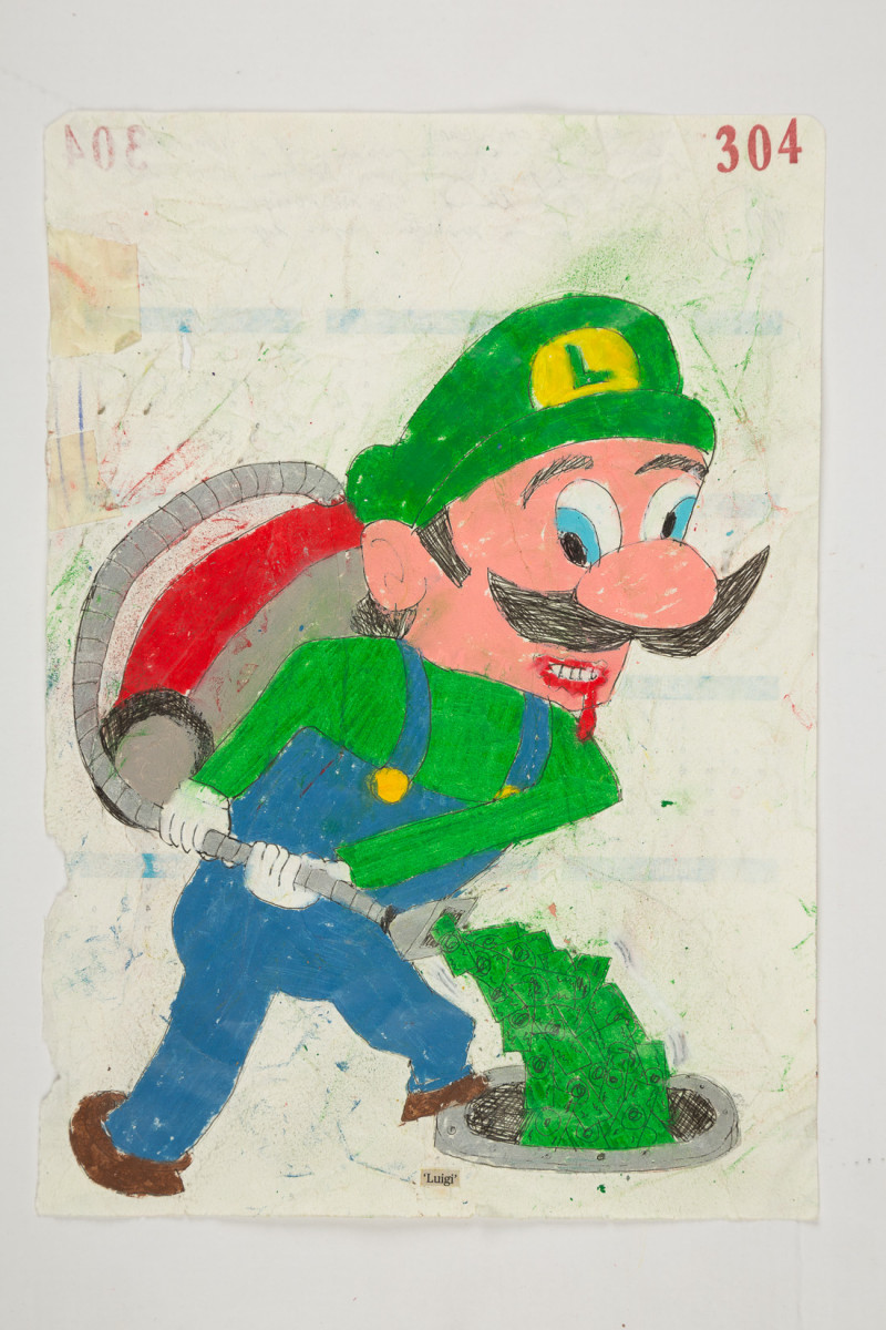 Camilo Restrepo. <em>Luigi</em>, 2021. Water-soluble wax pastel, ink, tape and saliva on paper 11 3/4 x 8 1/4 inches (29.8 x 21 cm)