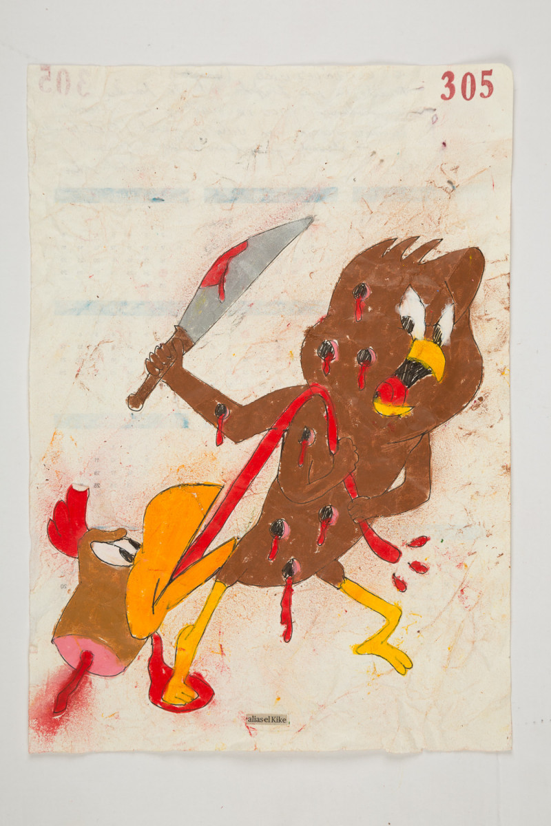 Camilo Restrepo. <em>Kike</em>, 2021. Water-soluble wax pastel, ink, tape and saliva on paper 11 3/4 x 8 1/4 inches (29.8 x 21 cm)