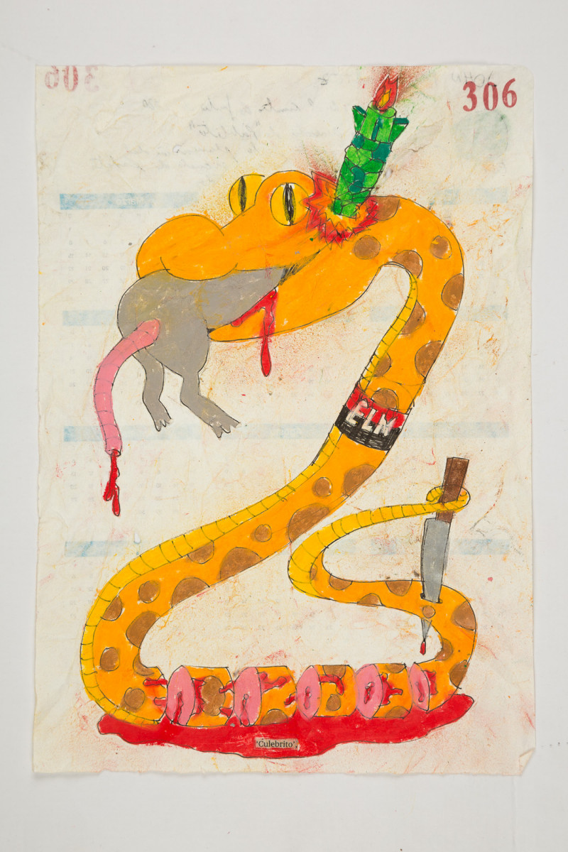 Camilo Restrepo. <em>Culebrito</em>, 2021. Water-soluble wax pastel, ink, tape and saliva on paper 11 3/4 x 8 1/4 inches (29.8 x 21 cm)