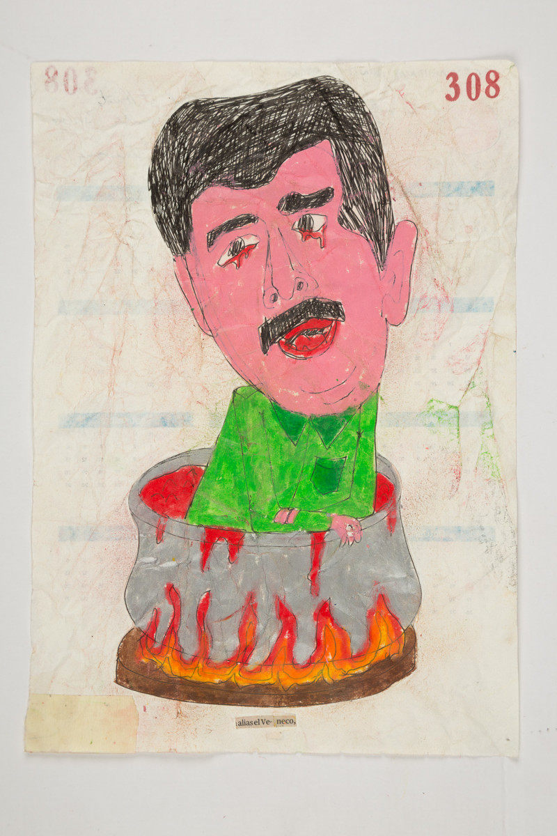Camilo Restrepo. <em>Veneco</em>, 2021. Water-soluble wax pastel, ink, tape and saliva on paper 11 3/4 x 8 1/4 inches (29.8 x 21 cm)
