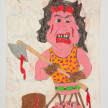 Camilo Restrepo. <em>Rambo</em>, 2021. Water-soluble wax pastel, ink, tape and saliva on paper 11 3/4 x 8 1/4 inches (29.8 x 21 cm) thumbnail