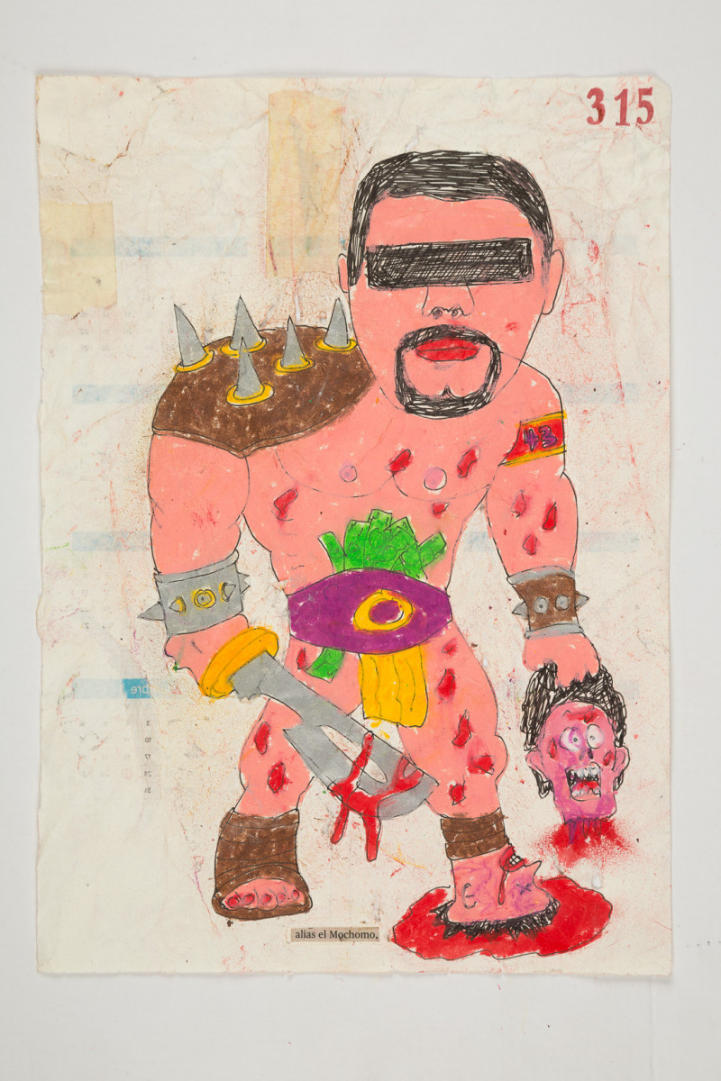 Camilo Restrepo. <em>Mochomo</em>, 2021. Water-soluble wax pastel, ink, tape and saliva on paper 11 3/4 x 8 1/4 inches (29.8 x 21 cm)