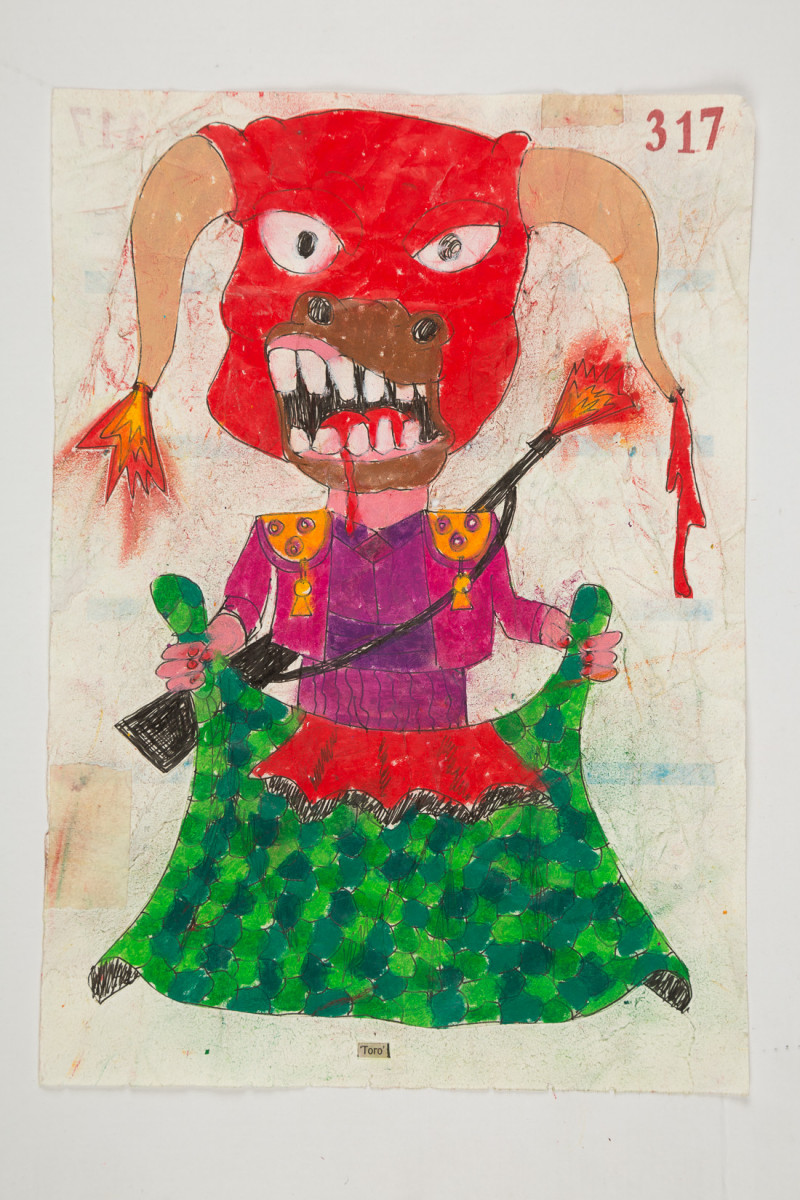 Camilo Restrepo. <em>Toro</em>, 2021. Water-soluble wax pastel, ink, tape and saliva on paper 11 3/4 x 8 1/4 inches (29.8 x 21 cm)