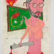 Camilo Restrepo. <em>Profe</em>, 2021. Water-soluble wax pastel, ink, tape and saliva on paper 11 3/4 x 8 1/4 inches (29.8 x 21 cm) thumbnail
