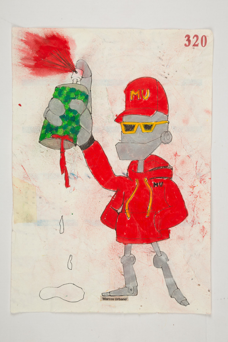 Camilo Restrepo. <em>Marcos Urbano</em>, 2021. Water-soluble wax pastel, ink, tape and saliva on paper 11 3/4 x 8 1/4 inches (29.8 x 21 cm)