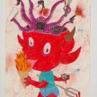 Camilo Restrepo. <em>Diablo</em>, 2021. Water-soluble wax pastel, ink, tape and saliva on paper 11 3/4 x 8 1/4 inches (29.8 x 21 cm) thumbnail