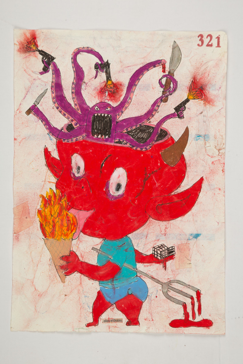 Camilo Restrepo. <em>Diablo</em>, 2021. Water-soluble wax pastel, ink, tape and saliva on paper 11 3/4 x 8 1/4 inches (29.8 x 21 cm)