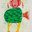Camilo Restrepo. <em>Fujimori</em>, 2021. Water-soluble wax pastel, ink, tape and saliva on paper 11 3/4 x 8 1/4 inches (29.8 x 21 cm) thumbnail