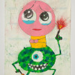 Camilo Restrepo. <em>Ojitos</em>, 2021. Water-soluble wax pastel, ink, tape and saliva on paper 11 3/4 x 8 1/4 inches (29.8 x 21 cm) thumbnail