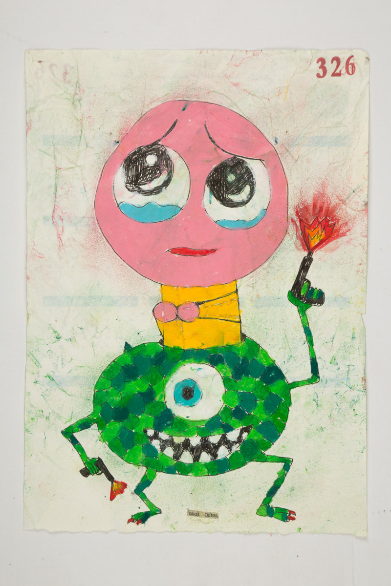 Camilo Restrepo. <em>Ojitos</em>, 2021. Water-soluble wax pastel, ink, tape and saliva on paper 11 3/4 x 8 1/4 inches (29.8 x 21 cm)