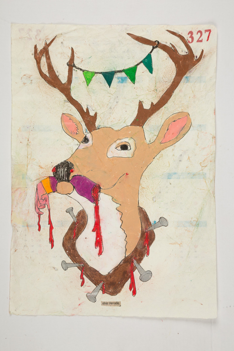 Camilo Restrepo. <em>Venado</em>, 2021. Water-soluble wax pastel, ink, tape and saliva on paper 11 3/4 x 8 1/4 inches (29.8 x 21 cm)