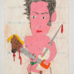 Camilo Restrepo. <em>Juliàn Bolivar</em>, 2021. Water-soluble wax pastel, ink, tape and saliva on paper 11 3/4 x 8 1/4 inches (29.8 x 21 cm) thumbnail
