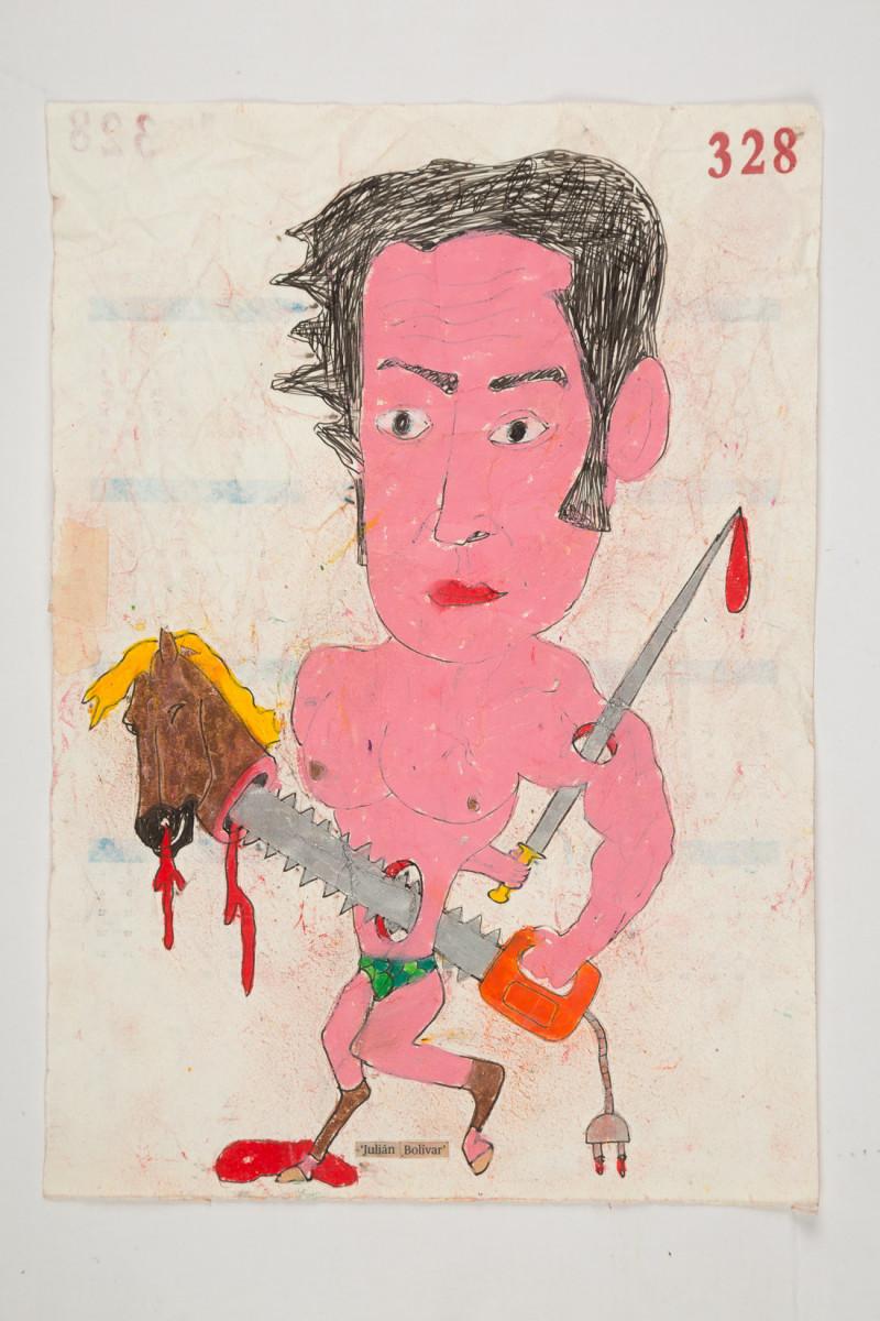 Camilo Restrepo. <em>Juliàn Bolivar</em>, 2021. Water-soluble wax pastel, ink, tape and saliva on paper 11 3/4 x 8 1/4 inches (29.8 x 21 cm)