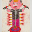 Camilo Restrepo. <em>Menchito</em>, 2021. Water-soluble wax pastel, ink, tape and saliva on paper 11 3/4 x 8 1/4 inches (29.8 x 21 cm) thumbnail